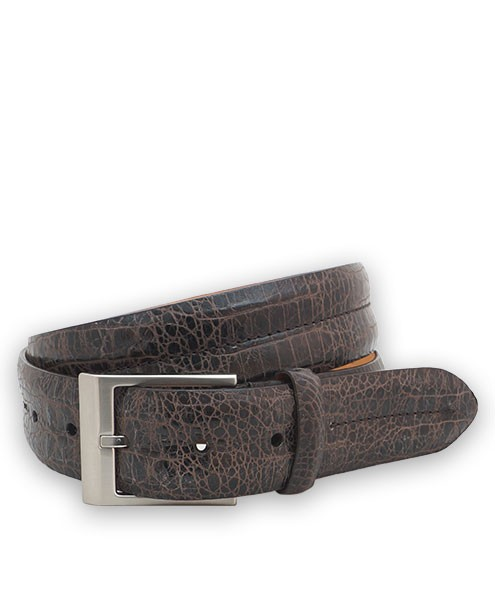 "Bryant Park Bambino Vintage Croc Leather Double Barrel Men Belt 1 3/8"" Brown 34 SPO"