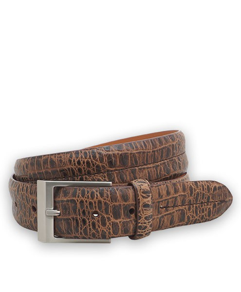 "Bryant Park Bambino Vintage Croc Leather Double Barrel Men Belt 1 3/8"" Cognac 42 SPO"