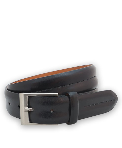 "Bryant Park Monte Carlo Leather Double Barrel Men Belt 1 3/8"" Black Sz 32 SPO"