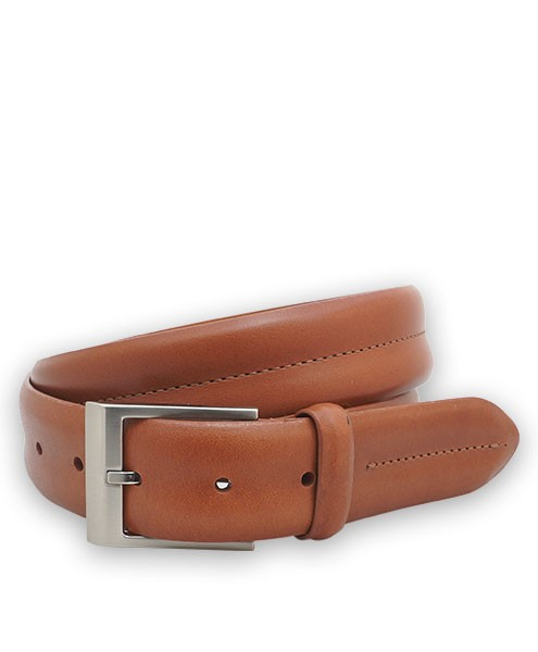 "Bryant Park Monte Carlo Leather Double Barrel Men Belt 1 3/8"" Cognac Sz 32 SPO"