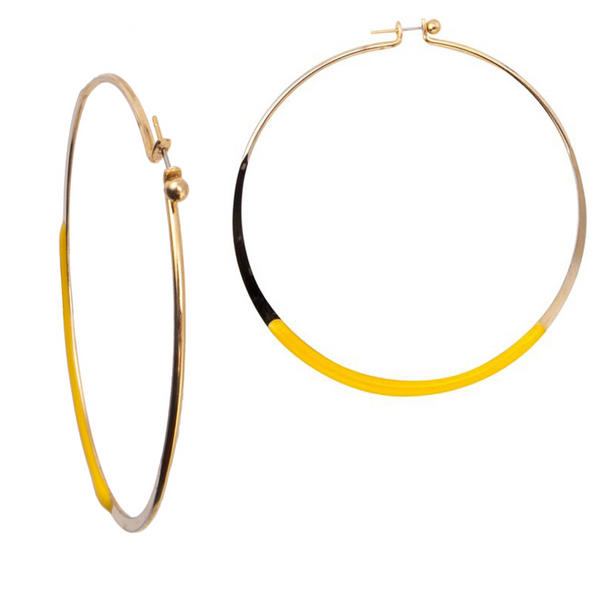 "1980s 2 3/4"" Pierced Hoop Earrings Gold Tone Painted Detailing - Yellow"