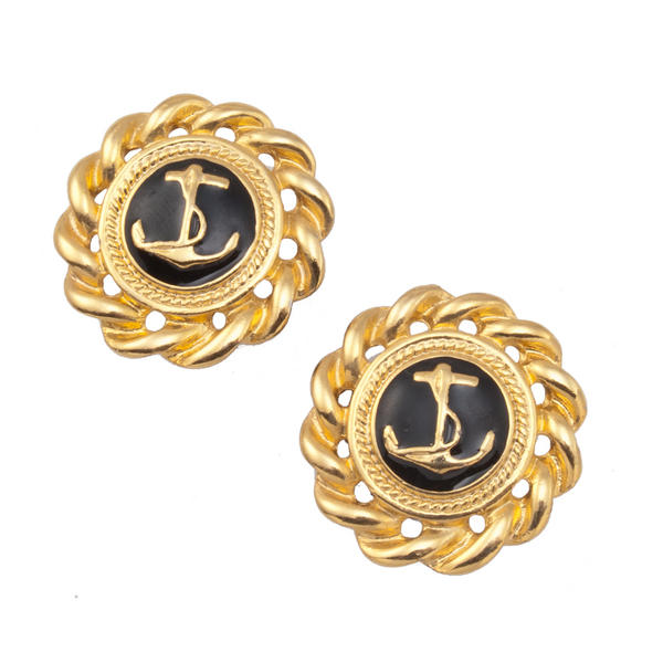 New Made in USA Nautical Anchor Button Pierced Earrings Black Gold Tone