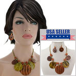 Fringe Statment Necklace Earrings Set Brown Green Shell Disc