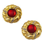 Vintage Button Gold Tone Red Jewel Rhinestone Big Clip On Earrings USA Made