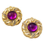 Vintage Button Gold Tone Purple Jewel Rhinestone Big Clip On Earrings USA Made
