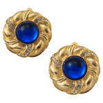 Vintage Button Gold Tone Blue Jewel Rhinestone Big Clip On Earrings USA Made