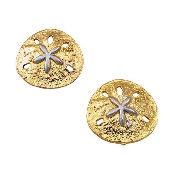 Large Button Gold Silver Tone Sand Dollar Earrings Made In USA