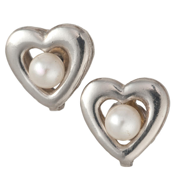 Heart Faux Pearl Stud Silver Tone Pierced Earrings