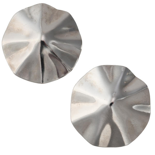 Fluted Octagon Button Silver Tone Pierced Earrings 1""