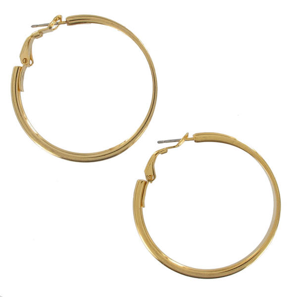 "Pierced Earrings Shiny Gold Tone Hoop 1 3/8"" Surgical Steel Post"