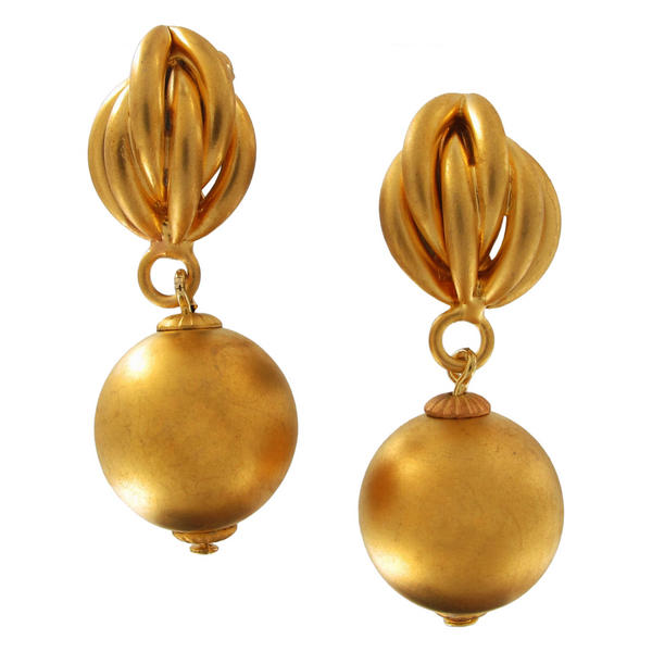 Gold Tone Matte Distressed Gilt Earrings Bead Dangle Multiple Tube Weaved 16mm