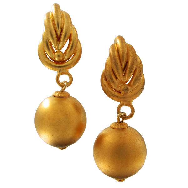 Gold Tone Matte Distressed Gilt Earrings Bead Dangle Multi Layer Leaf Weave 16mm