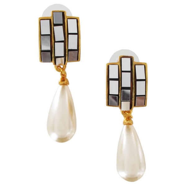 Gold Tone Faux Pearl Black Mirrorred Three Paved Pierced Earrings Dangle 2 1/4""