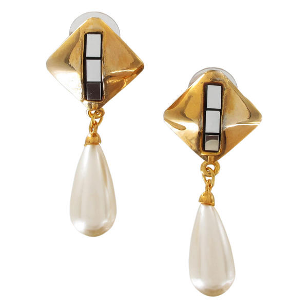 Gold Tone Faux Pearl Mirrorred Diamond Shaped Pierced Earrings Dangle 2 1/4""