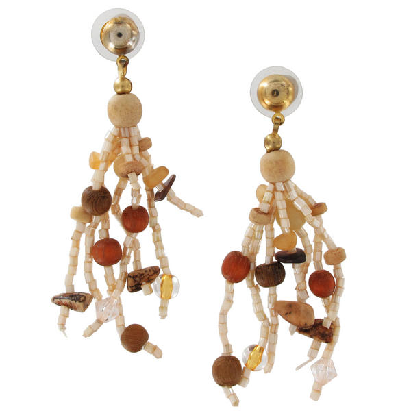 Gold Tone Cream Brown Glass Beaded Tassel Pierced Earrings Dangle 3""