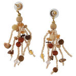 "Gold Tone Cream Brown Glass Beaded Tassel Pierced Earrings Dangle 3"" Thumbnail 2"