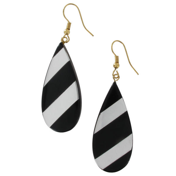 Black Silver Tone Mirrored Teardrop Black Striped Pierced Earrings Dangle 2 5/8""