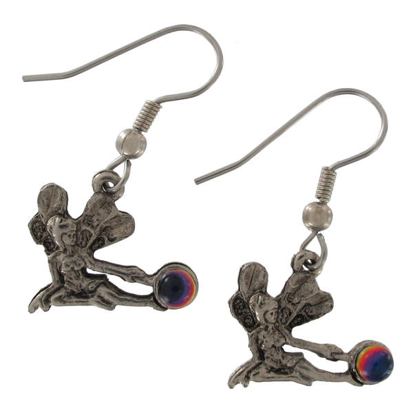 Silver Tone Fairy Celestial Multicolored Bead Pierced Earrings Dangle 1 1/4""