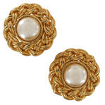 Gold Tone Twisted Rope Weaved Bead Faux Pearl Button Clip On Earrings 1 1/4""