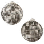 Silver Tone Abstract Circle Button Crosshatched Grid Black Enamel Clip Earrings