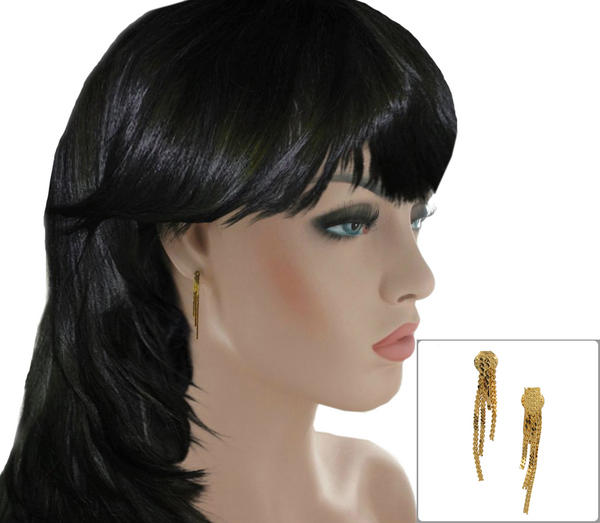 Gold Tone Fringe Tassel Wired Cluster Dangle Clip On Earrings 1 3/8""