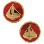 Small Vintage Nautical Red Sail Boat Rope Gold Tone Clip On Earrings 1""
