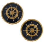 Small Vintage Navy Blue Captian's Wheel Gold Tone Nautical Clip On Earrings 1""