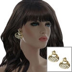 Vintage 1980s Gold Tone Pierced Big Statement Door Knocker Earrings 1 1/2""