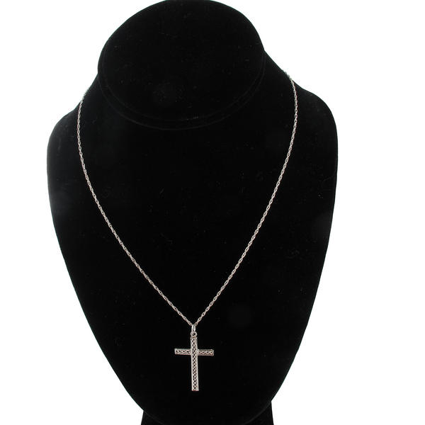 Necklace Pendant Silver Tone Cross Twisted Braided Rope Religious