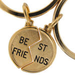 Key Chain Two Piece Key Ring Gold Tone Best Friends Half Circle Charm Symbol