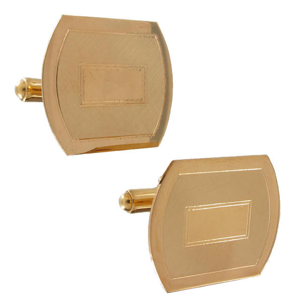 Vintage Cufflinks Men's Gold Tone Triple Square Etched Lines Textured Simple