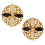 Color Block Filigree Gold Tone Cream Black Large Clip Button Earrings 1 1/2""