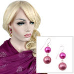 Pink Red Pierced Faux Pearl Beaded Dangle Earrings