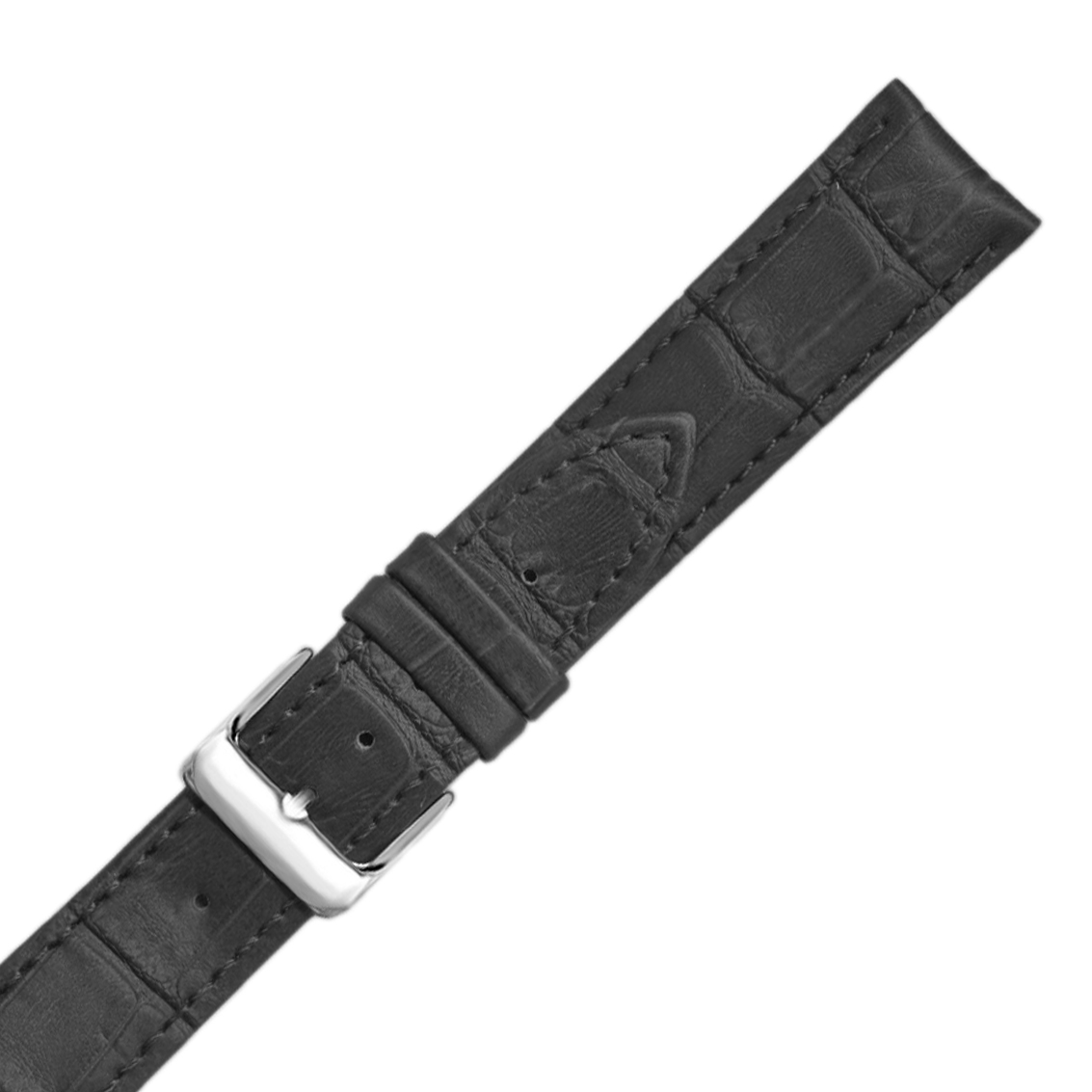Hadley-Roma MS737 18mm Black Alligator Grain Calfskin Semi-Matte Mens Watch Strap