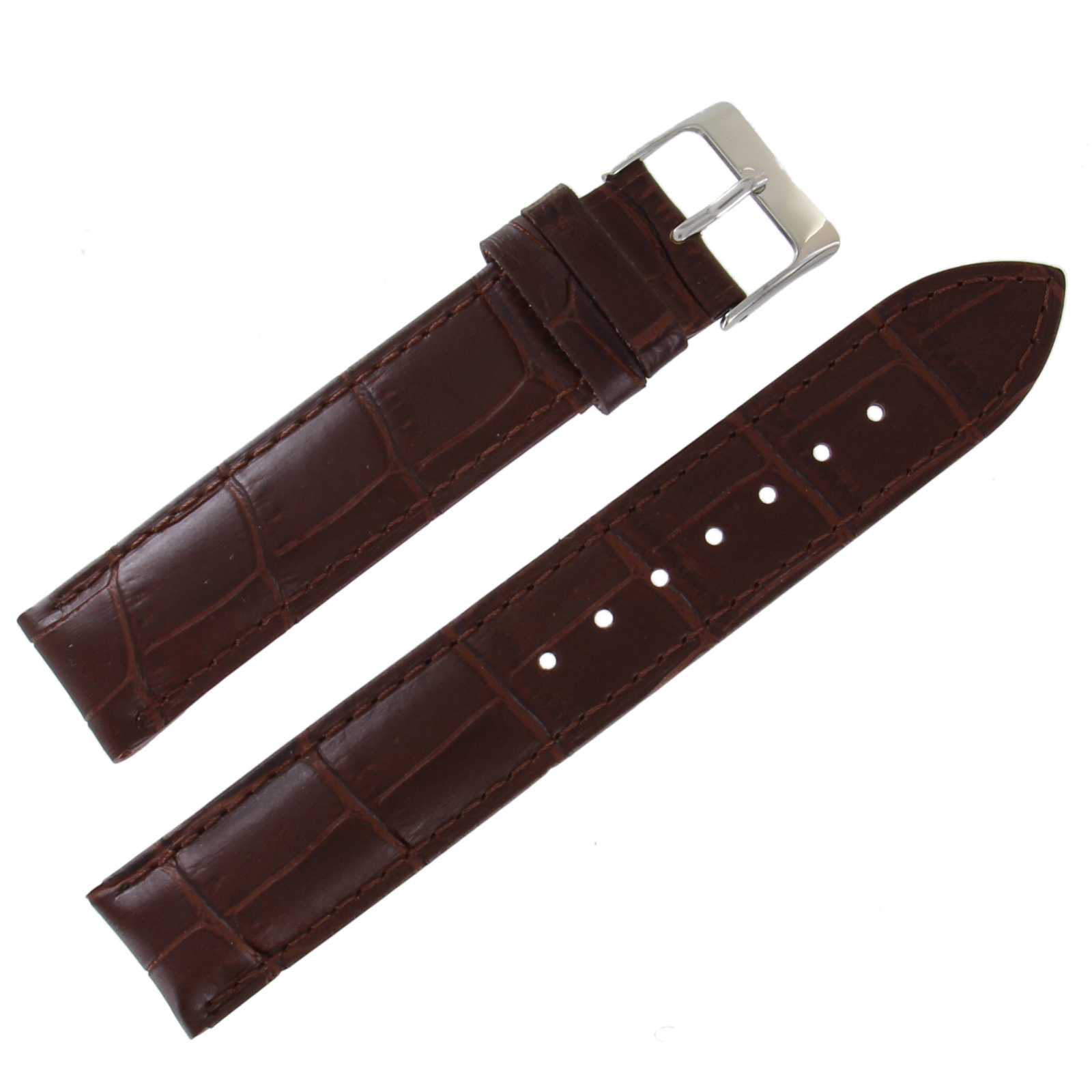 Hadley-Roma MS737 18mm Brown Alligator Grain Calfskin Semi-Matte Mens Watch Strap