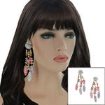Long White Purple Pink Wood Beaded Tropical Dangle Pierced Statement Earrings 5""