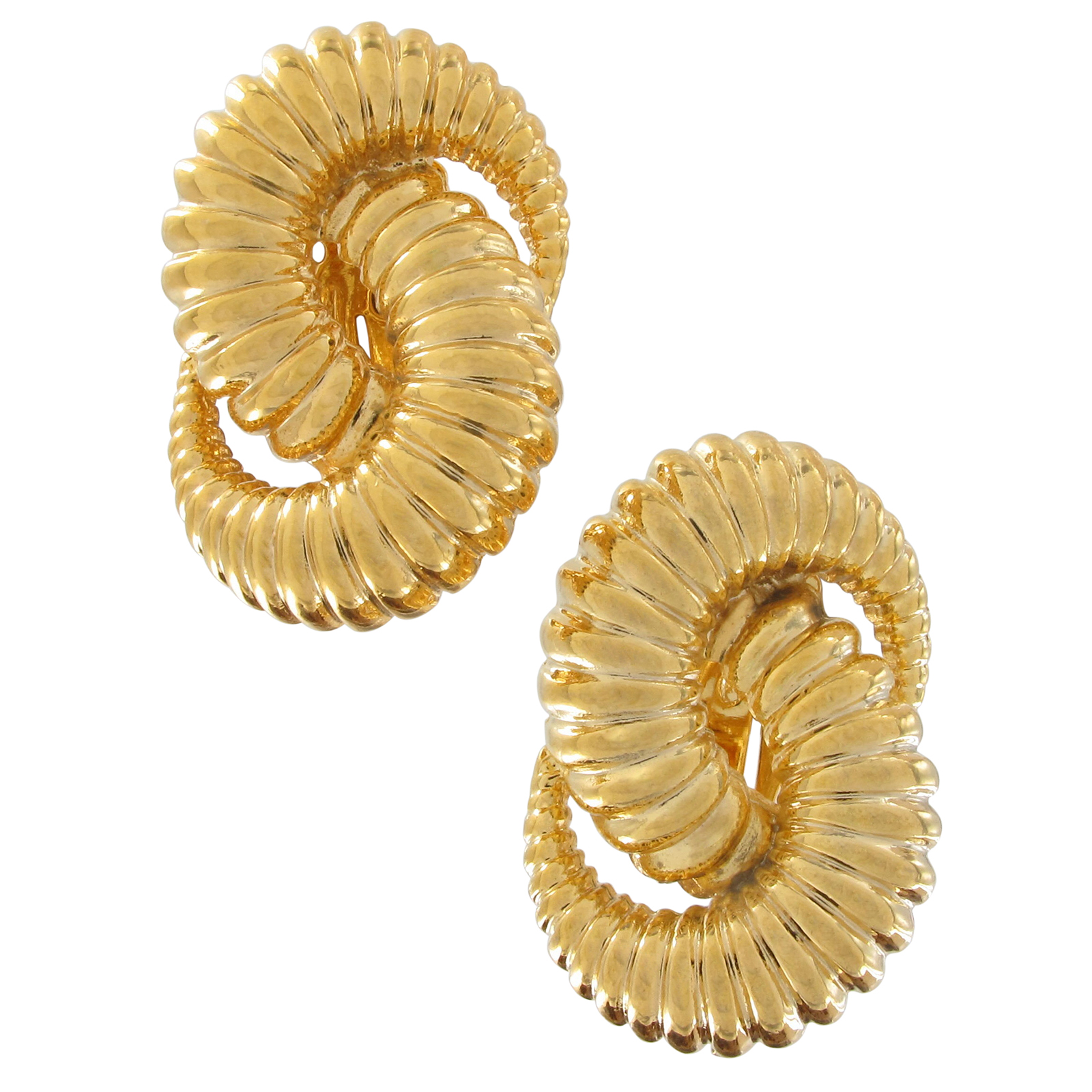 Vintage Knot Twisted Swirl Textured Clip On Earrings 1 1/4""