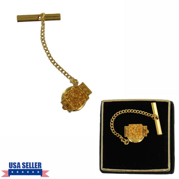 Men's Gold Tone Abstract Rectangle Tie Tac Tack Pin Gift Boxed