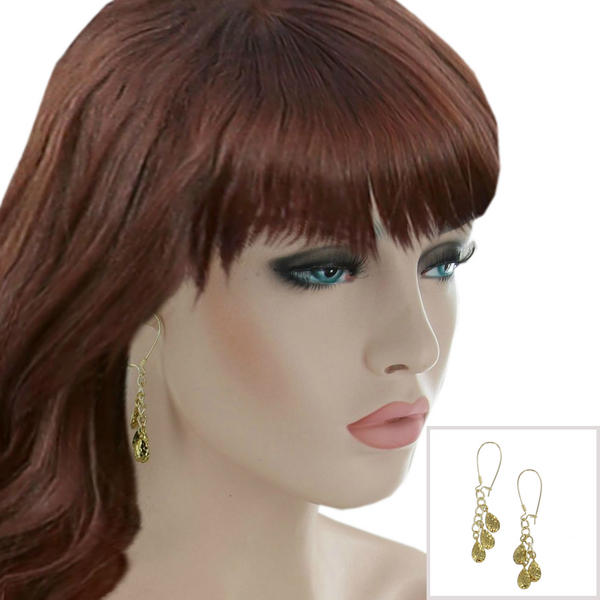 Hammered Yellow Gold Tone Chandelier Dangle Chain Earrings USA Made 2 1/2""