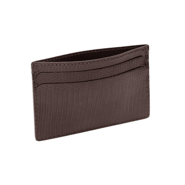 Hadley Roma Made In USA Genuine Lizard Credit Card Case Brown