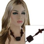 Natural Wood Wooden Dark Brown Beaded Barrel Pendant Necklace 20""