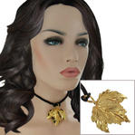 "USA Made Gold Tone Maple Leaf Pendant Choker Short Necklace Black Cord 14"" Thumbnail 1"