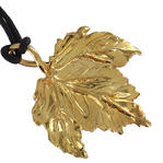 "USA Made Gold Tone Maple Leaf Pendant Choker Short Necklace Black Cord 14"" Thumbnail 2"