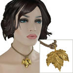 USA Made Gold Tone Maple Leaf Pendant Choker Short Necklace Tan Cord 15""