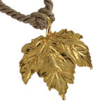 "USA Made Gold Tone Maple Leaf Pendant Choker Short Necklace Tan Cord 15"" Thumbnail 3"