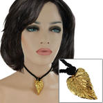 USA Made Gold Tone Leaf Pendant Choker Short Necklace Black Cord 14""