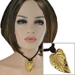 USA Made Gold Tone Leaf Pendant Choker Short Necklace Brown Cord 14 1/2""