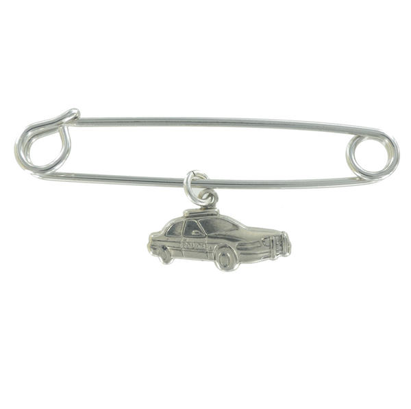 Ky & Co Safety Pin Brooch Police Car Dangle Charm Silver Tone USA Made 2""