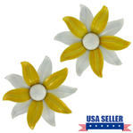 Vintage White Yellow Flower Shoe Clips Pair