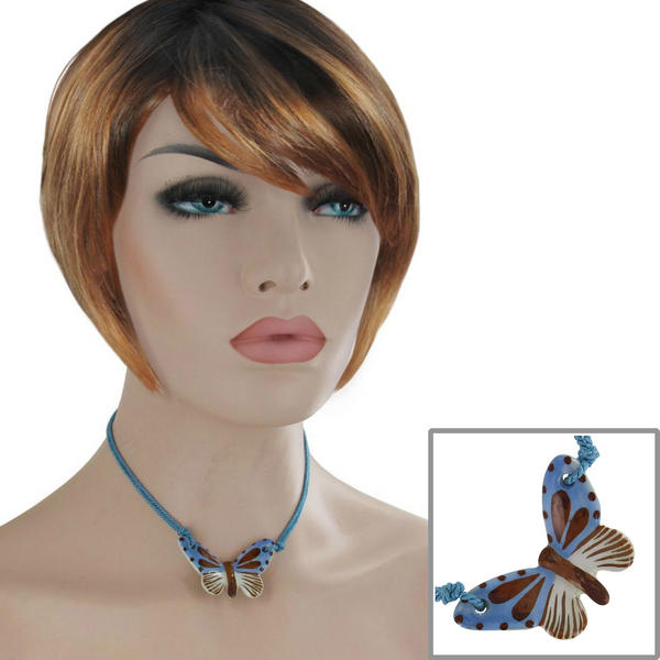 Ceramic Butterfly Collar Choker Light Blue Brown Pendant Necklace 15 1/2""